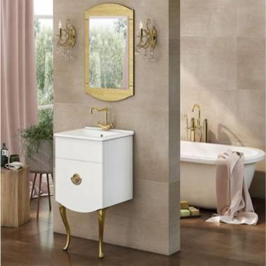 کابینت روشویی دیواری 9046 سفید طلایی فیورنزا