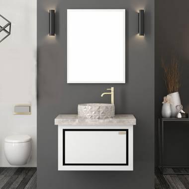 کابینت روشویی دیواری فول ست سفید طوسی فیورنزا