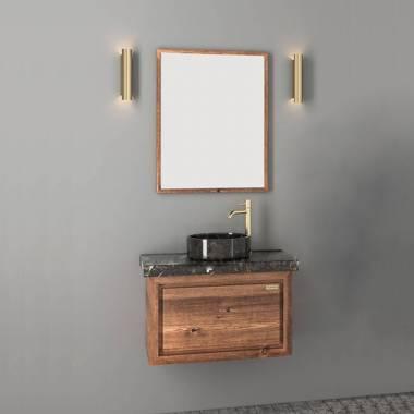 کابینت روشویی دیواری فول ست طرح چوب و مشکی فیورنزا