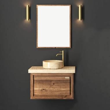 کابینت روشویی دیواری فول ست طرح چوب و کرم فیورنزا