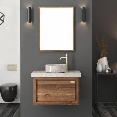 کابینت روشویی دیواری فول ست طرح چوب و طوسی فیورنزا